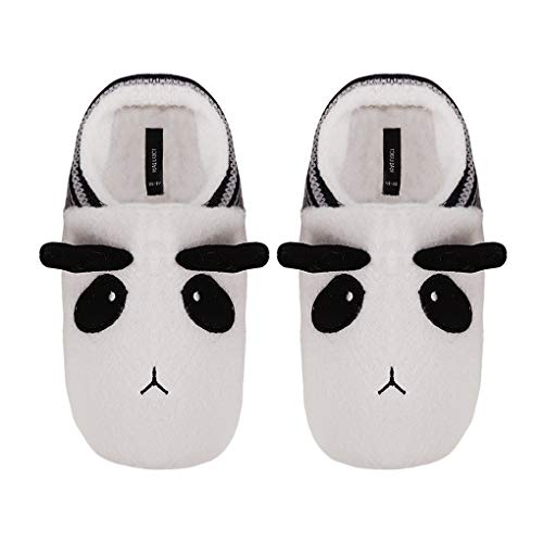 Women Cartoon Panda Fleece Slippers Warm Winter Thermal Ankle Slippers Indoor Slip on Cute Slippers with Thicken Plush Lining Cosy Soft Clog Mule Non-Slip Sole Footwear Home House Shoes Size UK 4-6