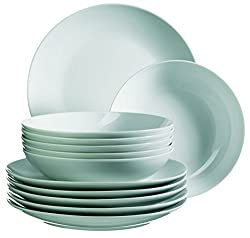 Mäser, Serie Barca, Tafelservice 12-teilig, Tellerset für 6 Personen, weiß, Porzellan