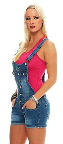 10972 Fashion4Young Damen Latzhose Hotpants Jeans Shorts kurze Hose mit Hosenträgern Jeanslatzhose Blau