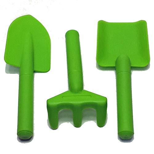 Land-Haus-Shop Kinder Hand Gartengeräte Set 3tlg. Garten Harke Schaufel Spaten, Junior Kunststoff Ausführung (grün)