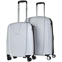 JASLEN - 56515 Juego Set 2 Maletas Trolley 50/60 cm ABS. Rígidas, Resistentes y Ligeras. Mango telescópico, 4 Ruedas Dobles. Candado Integrado TSA. Pequeña Low Cost, Color Blanco-Negro