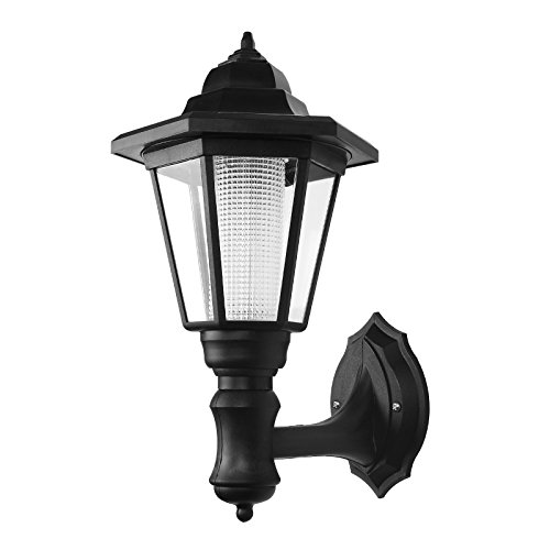 LemonBest® LED Solar Wasserdichte Solar Wandleuchte Powered Outdoor LED Wand Laterne Schwarz(Warmweiß) [Energieklasse A+] -