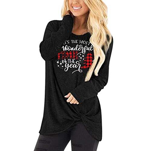 Damen Weihnachten Tops Langarmshirt Rundhals Lose T-Shirt Sexy Oberteil Blusen Herbst Winter Einfarbig Casual Pullover Hemd