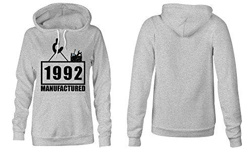 Manufactured 1992 - Hoodie Kapuzen-Pullover Frauen-Damen - hochwertig bedruckt mit lustigem Spruch - Die perfekte Geschenk-Idee (05) grau-meliert