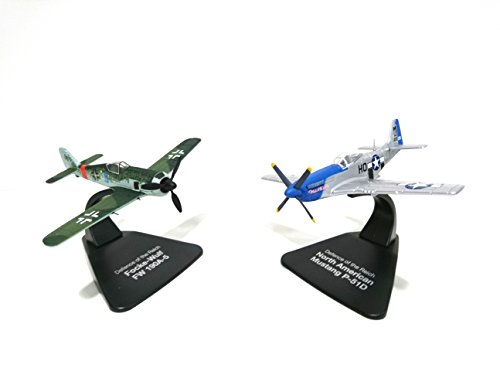 LOT of 2 combat aircraft 1 / 72 North American Mustang P-51D Americain contre Focke Wulf FW190A-5 Allemand (ref D03)
