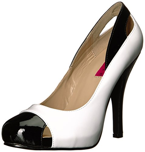 Pleaser EVE-07 Damen Spectator Pumps, Lack Weiß/Schwarz, EU 40 (US 10)