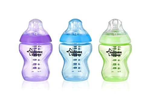 Tommee Tippee Closer to Nature Colour My World Biberon 260ml, Azzurro (3 Pezzi)
