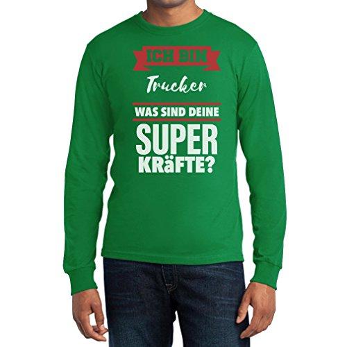Geschenke für Trucker - Trucker Superkräfte Langarm T-Shirt Grün