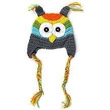 recien nacido sombrero - TOOGOO(R) 6-18 meses recien nacido bebe infantil nino Tejer crochet apoyo de la foto disfraz buho Sombrero (gris)