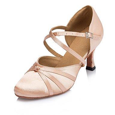 Silence @ pour femme Chaussures de danse latine/Jazz/moderne/Chaussures de swing/Salsa/Samba satiné Talon Noir/rose Rose