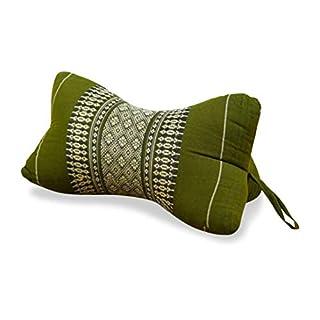 livasia Bone Shape Comfort Neck Support, firm Cushion, Pillow, Thai Design (green)