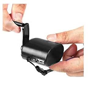Innovative Digital Hand-Crank USB Cell Phone Emergency Charger, Small size, Portable, for iPhone 6+, 6, 5S, 5C, 5, 4S, 4, 3GS, 3G, Black, Retail pack