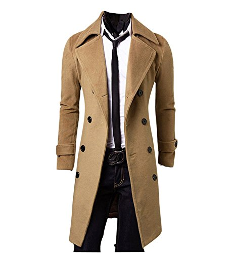 MISSMAO Hombres Abrigo de Invierno Slim Elegante Trench Coat Double Breasted Chaqueta Larga Parka Gabardina Camello XL
