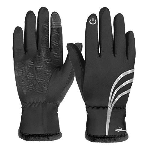 HiCool Touchscreen-Handschuhe, Touch Gloves Smartphone Handschuhe für Radfahren, Motorradfahren, Wandern und andere Outdoor-Aktivitäten (Verdickt Schwarz, XL)