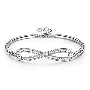 Susan Y Unendlichkeit Damen Armband mit Kristall von Swarovski Weiß Gold Plattiert mit Verlängerungskette, Kommt in Geschenkbox, Hypoallergen, ♥Geschenke für Frauen