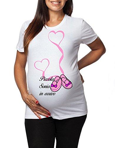 Tshirt lunga da donna ideale per il premaman femminuccia Piccola Sonia in arrivo - tshirt simpatiche e divertenti - humor Bianco