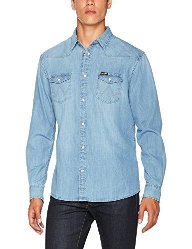 Wrangler Herren Jeans Hemd Western Denim Shirt Blau (Light Indigo 4E)