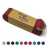Yogibato Yoga-Gurt | 240 x 3,8 cm | 100% Baumwolle - stabile Metallringe zur flexiblen Größenverstellung - Yoga-Band