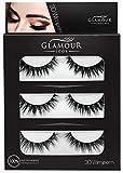 GlamourLookTM Professional 3D Wimpern natürlich voluminöse künstliche Wimpern drei Paar wiederwendbare falsche Wimpern