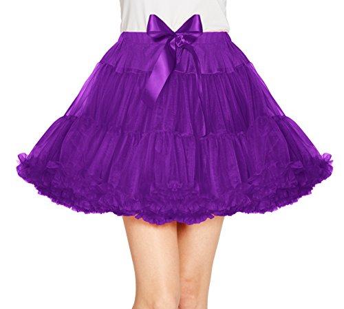Damen Petticoat Princess Ballettrock Tutu Mini Unterrock (M, Traube)