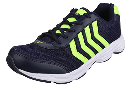 Sparx Men's Navy Blue Fluoresce Green Colour SM0281 Series Synthetic and Nylon Mesh Sports Shoes 8UK