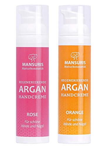 Bio Handcreme 2er Set Orange & Rose - Mit Arganöl für Hände, Füße & Nägel, Cremes für sehr trockene, strapazierte & rissige Hände, Nagelcreme für brüchige Nägel, extrem schnell einziehend, 2 x 70 ml