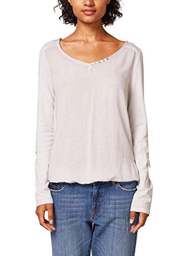 ESPRIT Damen Langarmshirt 018EE1K027, Grau (Light Grey 4 043), Large