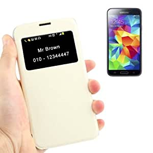 Strokes Texture Flip Leather Cover Transparent Frosted Plastic Case with Call Display ID for Samsung Galaxy S5 G900 in White