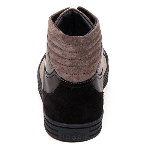 Hogan E2850 Sneaker Uomo Nero/Tortora Rebel R141 Scarpe Basket Shoe Man tortora/nero