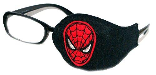 SuperPatchDesigns, orthoptische Augenklappe, für Kinder und Erwachsene, gegen Amblyopie, Augenokklusionsbehandlung, Motiv #13: Spiderman, schwarz