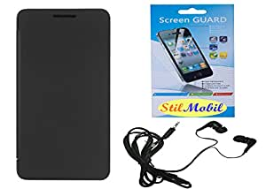 StilMobil Flip Cover For Micromax Canvas Doodle 4 Q391 - Black With Screen Cover & Earphone