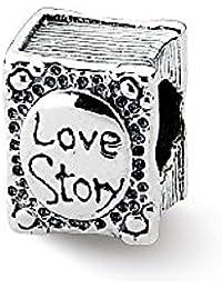 943cc41b2509 Cuentas de plata de ley con diseño de libro de historia de amor