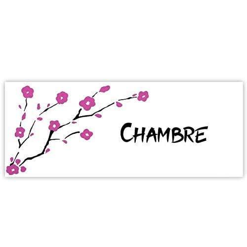 Plaque de porte Sakura fleurs de cerisiers pour chambre, buanderie, toilettes, salle de bains, cuisine ou texte personnalisable