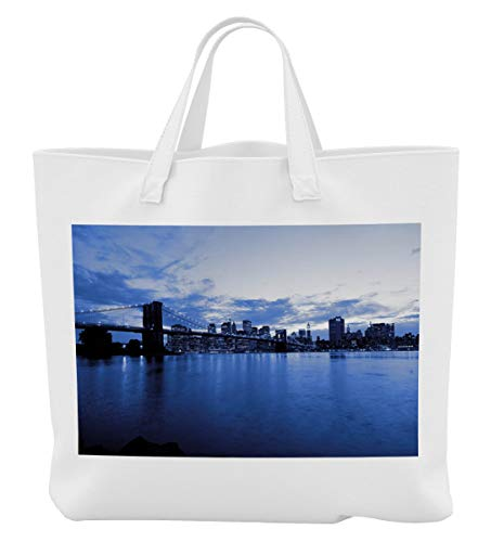 Merchandise for Fans Einkaufstasche- 38x42cm, 8 Liter - Motiv: New York Manhattan Brooklyn Bridge im Abendlicht [ 09 ]