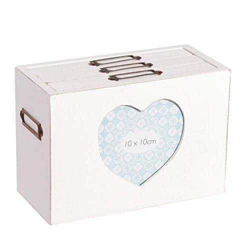 5. Jahrestag French weiß Herzform Foto Frame Box weiß Holz Herz Foto Aufbewahrungsbox–schaffen schönen 5. Hochzeitstag Geschenk Idee–h13.5X l19.5X B 9,5(Z295)