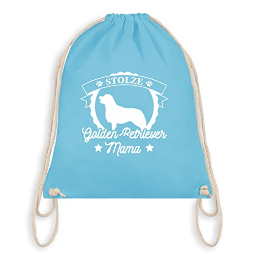 Shirtracer Hunde - Stolze Golden Retriever Mama - Unisize - Hellblau - WM110 - Turnbeutel I Gym Bag - Retriever Hund Haustier Tier