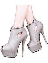 Xianshu Plataforma de charol de cuero zapatos de tacón alto boca de pescado cremallera bombas