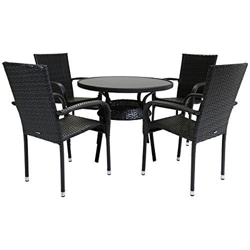 Charles Bentley Amalfi 4 Seater Rattan Wicker Dining Set Weatherproof Outdoor Patio Garden Conservatory Furniture - Grey