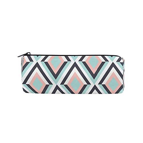 Pencil Case Geometric Design School Pen Pouch Office Zippered Pencil Cases Holder Women Makeup Bag