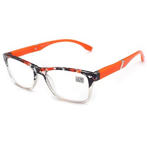 VEVESMUNDO Lesebrille Damen Herren Halbrahmen Federscharnier Vintage Halbbrille Lesehilfe Sehhilfen Brillen mit Stärke 1.0 1.5 2.0 2.5 3.0 3.5 4.0 (Orange, 3.5)