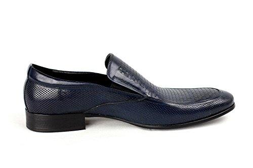 Uomo Scarpe Slip-on Di Pelle Abito Elegante Matrimonio Ufficio Formale Mocassini Casual Blu