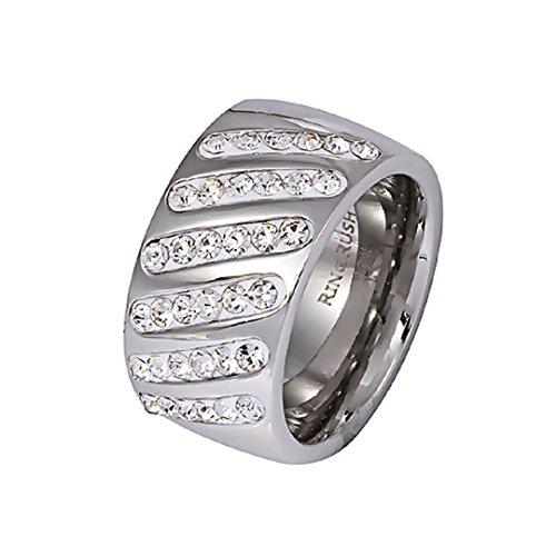 Akki Damen Edelstahl Ringe strass frauen silber ring Stein breite Massive Chrystal Rose NEU 002 S/18
