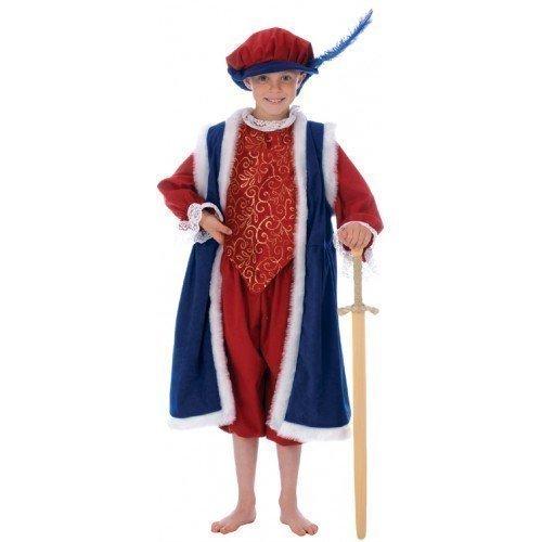 Henry VIII 8th büchertag Tudor Weihnachten Krippe Verkleidung Kostüm Outfit - Blau, 6-8 years (128cms) (Henry Viii Kostüm Kind)