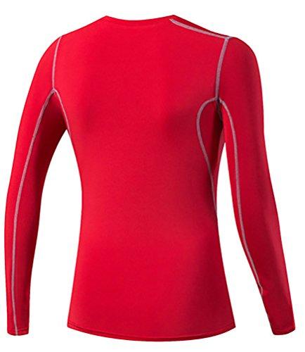 YiJee Donna Traspirante Yoga T-Shirt Manica Lunga Fitness Jogging Compressione Rosso