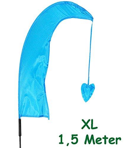 alles-meine.de GmbH 1 Stück _ XL - 1,5 m - Windfahne / Balifahne -  Hell Blau  - mit Fahnenstang..