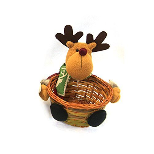 Kicode christmas tabletop decoration children's santa claus snowman fruit candy basket