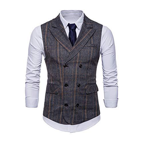 Breasted Blazer (2018 Business Plaid Vest Men Casual Double Breasted Ärmellose Anzug Weste Herbst Retro Schlanke Männliche Gilet Weste Plus Größe,2,XXL)