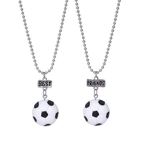MJARTORIA Damen Mädchen Jungen Halskette Silber Farbe Essen Regenbogen Eule Schmuck Anhänger mit Gravur Freundschaftsketten 2 Stück (Fussball)