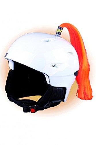 Crazy Ears Helm-Accessoires Zöpfe. Ski-Ohren geeignet für Skihelm Motorradhelm Fahrradhelm und vieles mehr. Helm Dekoration für Kinder und Erwachsene, CrazyEars:Zopf Orange