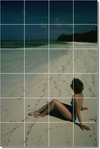 PLAYA FOTO PERSONALIZADO TILE MURAL 23  24X 36PULGADAS CON (24) 6X 6AZULEJOS DE CERAMICA